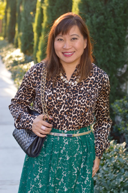 J Crew Contrast Floral Lace skirt, J Crew Collarless pocket top in leopard