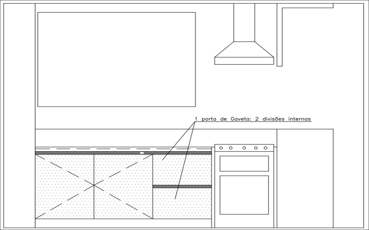 Desenho técnico Vista dos armários debaixo da bancada #4A4A4A 1281 799