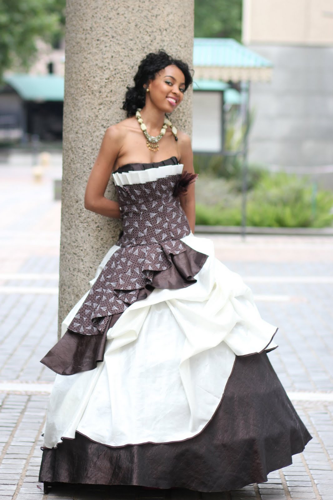Traditional Sotho Seshweshwe meets Ivory Dreams.