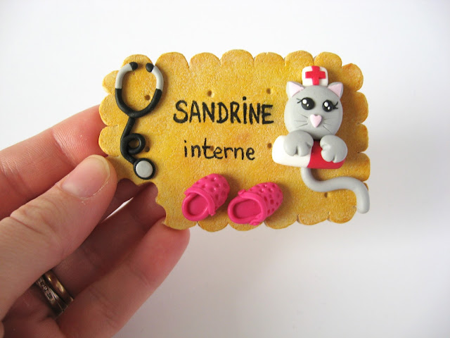 badge interne médecin médical stéthoscope chat