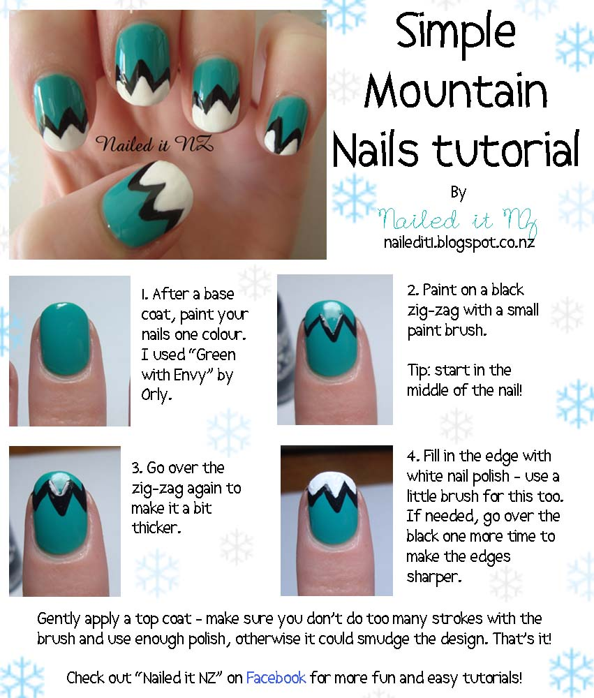 Nail art for short nails #1: Mountain Nails