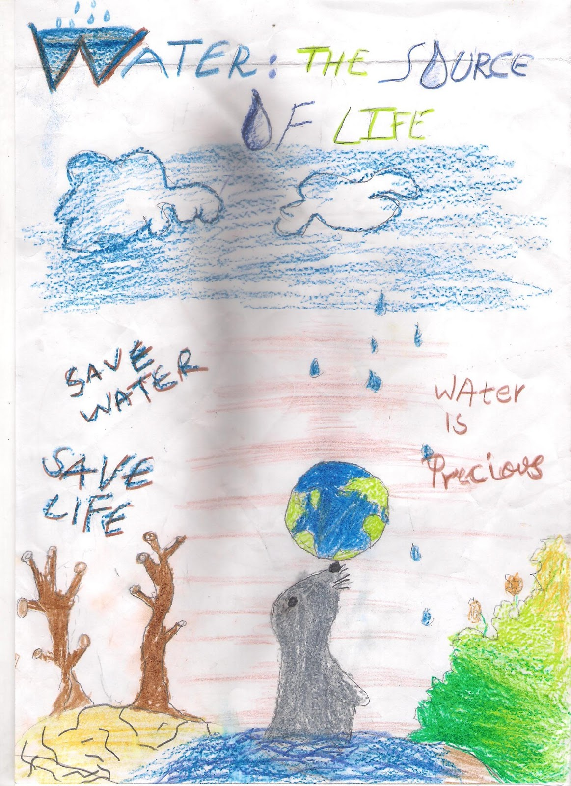 Poster design on save water - To Commemorate World Water Day We Conducted A Poster Making Drawing Contest On The Topic Water The Source Of Life