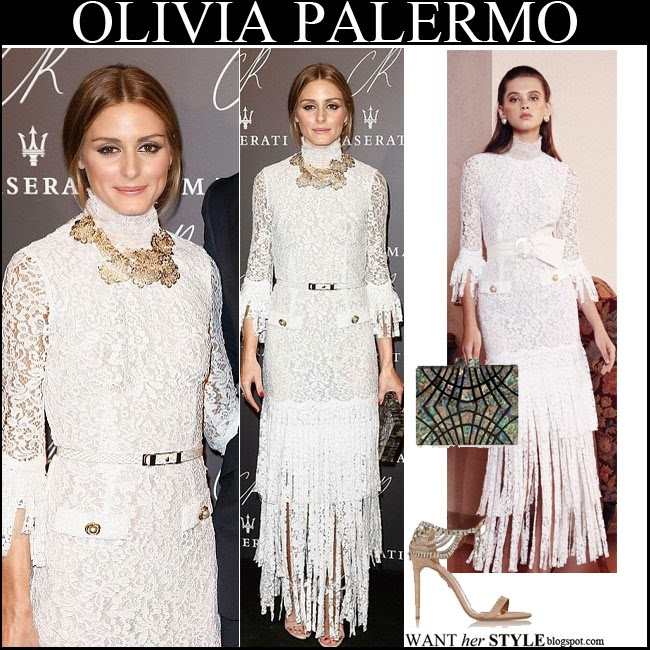 Olivia Palermo in white lace fringe gown by Alessandra Rich with large gold necklace and biege sandals september 30 want her style