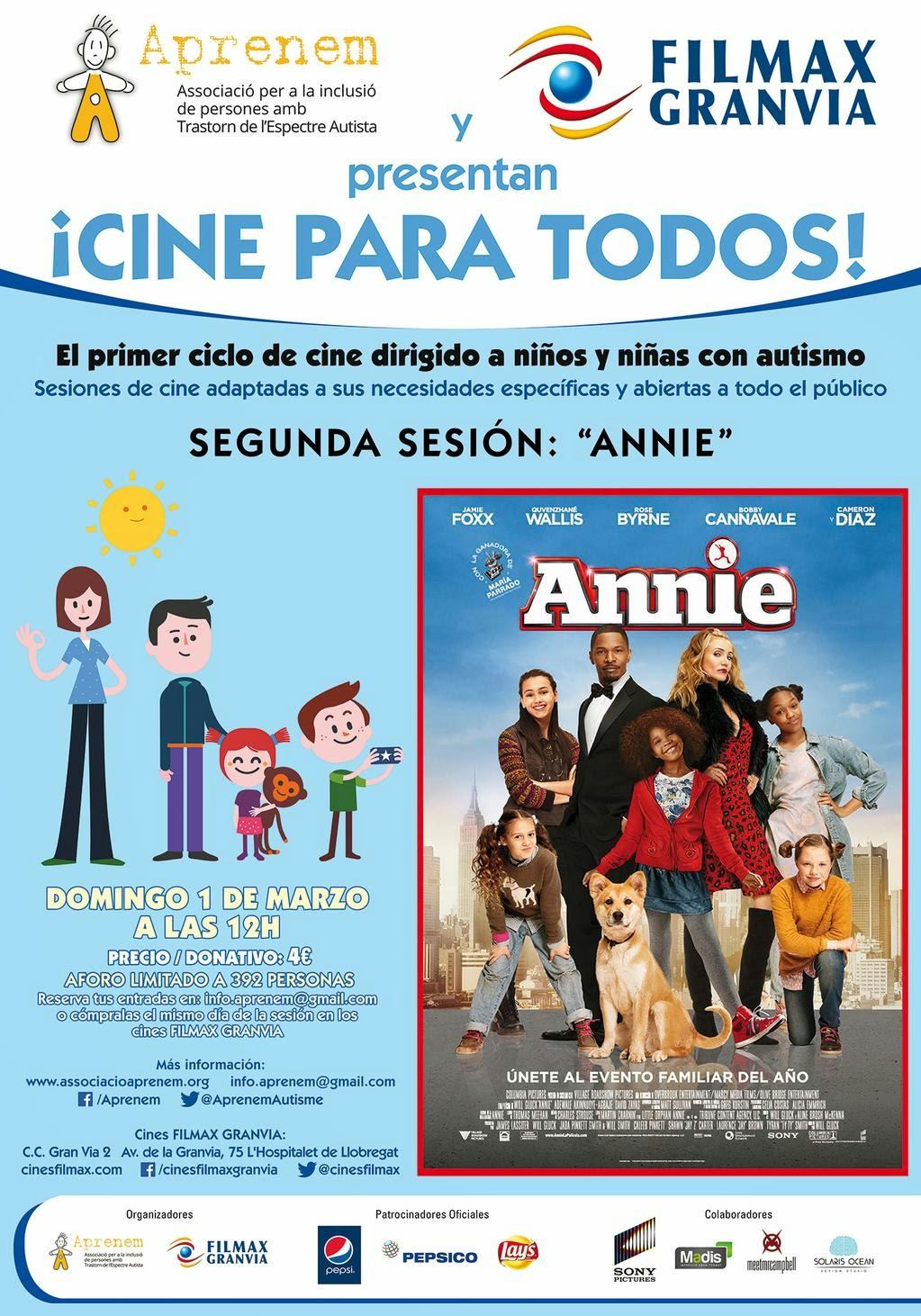 Aprenem y Cines Filmax Granvia organizan la segunda sesión de 'Autism friendly' en España.