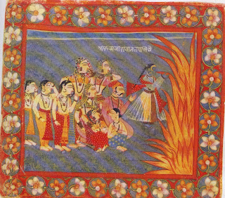 Krishna Swallows the Forest Fire, Rajasthan Sirohi; C. 1675-1700