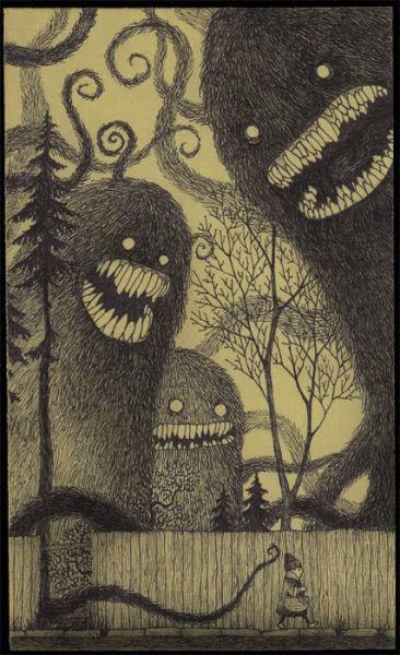 Aterradoras ilustraciones dibujadas en notas Post It