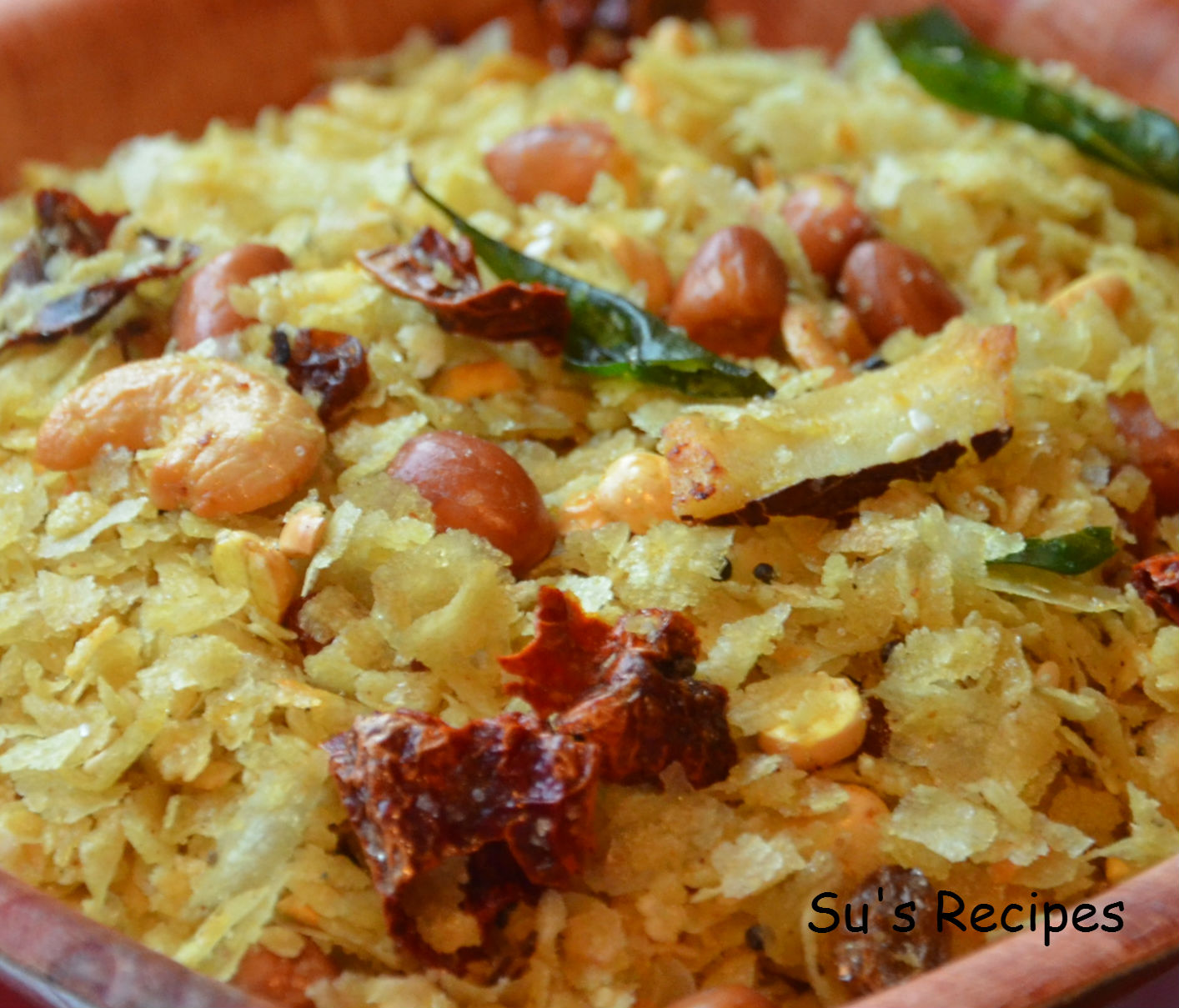 chivda mixture, microwave fried poha, nutrition snack, mansoon snack