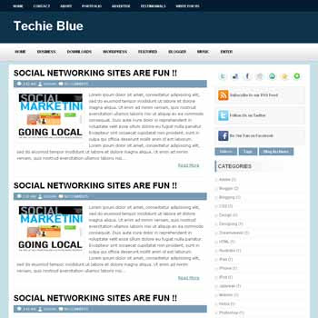 Techie Blue blogger template. image slider blogger template. 3 column footer template blog