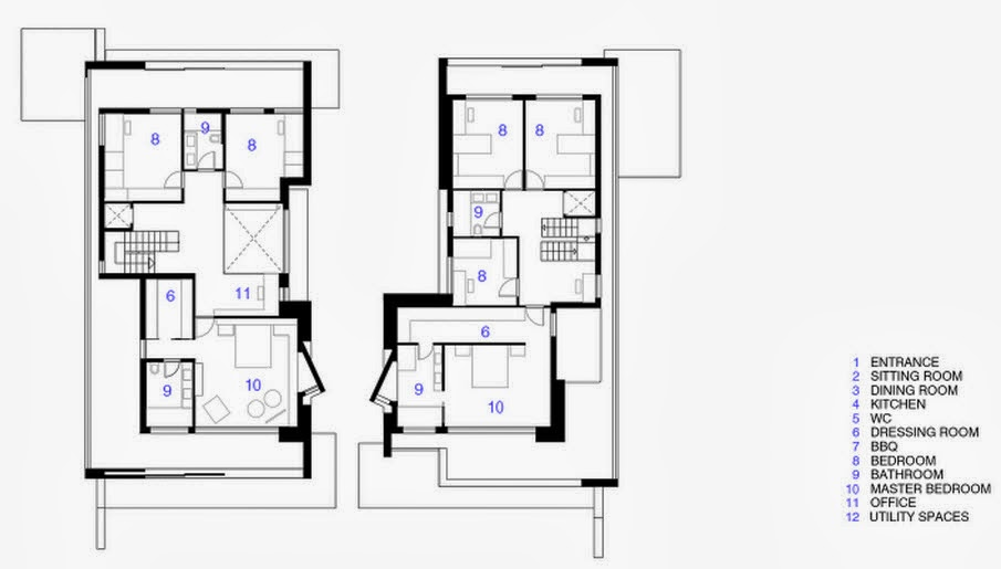 Dise o de dos casas modernas en un s lo terreno planos y for Diseno de interiores de casas planos