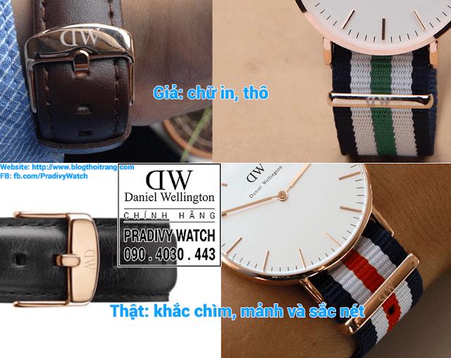 Logo DW trên khóa dây của Daniel Wellington chính hãng là dạng khắc chìm, chữ khắc sắc nét và nhỏ gọn