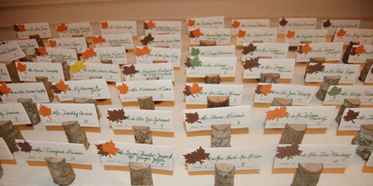 fall wedding halloween place wood card holders