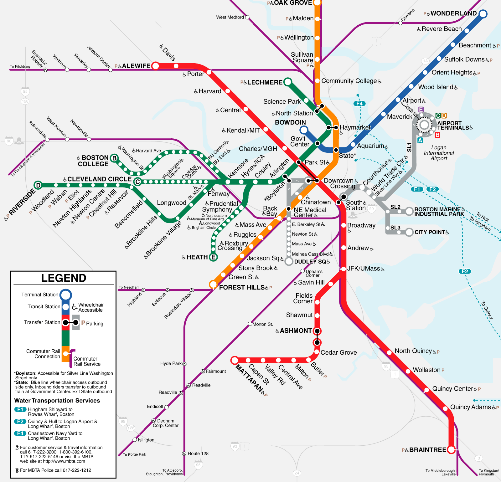 News Tourism World Boston Subway Map  MBTA