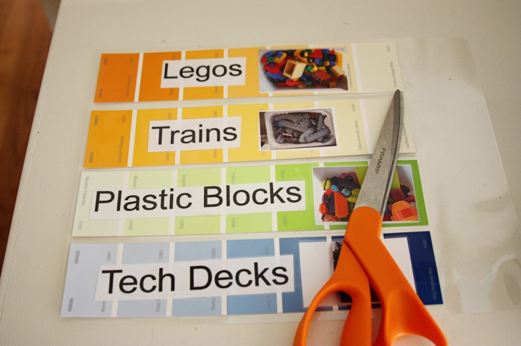 BeingBrookPaint Chip Labels {Playroom organization}