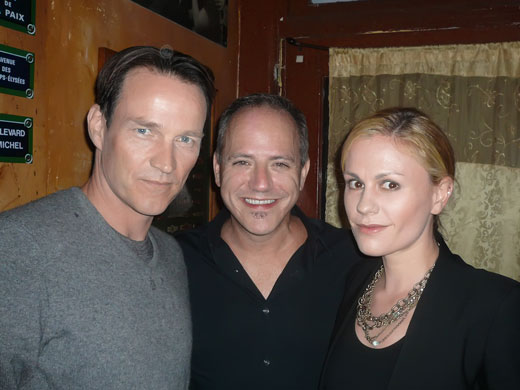 Stephen Moyer and Anna Pacquin with MIchael Caprio at closing night party of CHICAGO