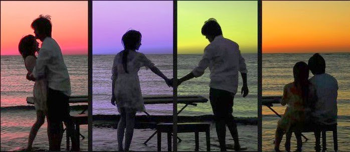 Collage image of couple