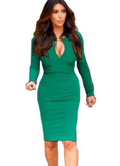 www.sheinside.com/Green-V-Neck-Long-Sleeve-Slim-Bodycon-Dress-p-151975-cat-1727.html?aff_id=1238