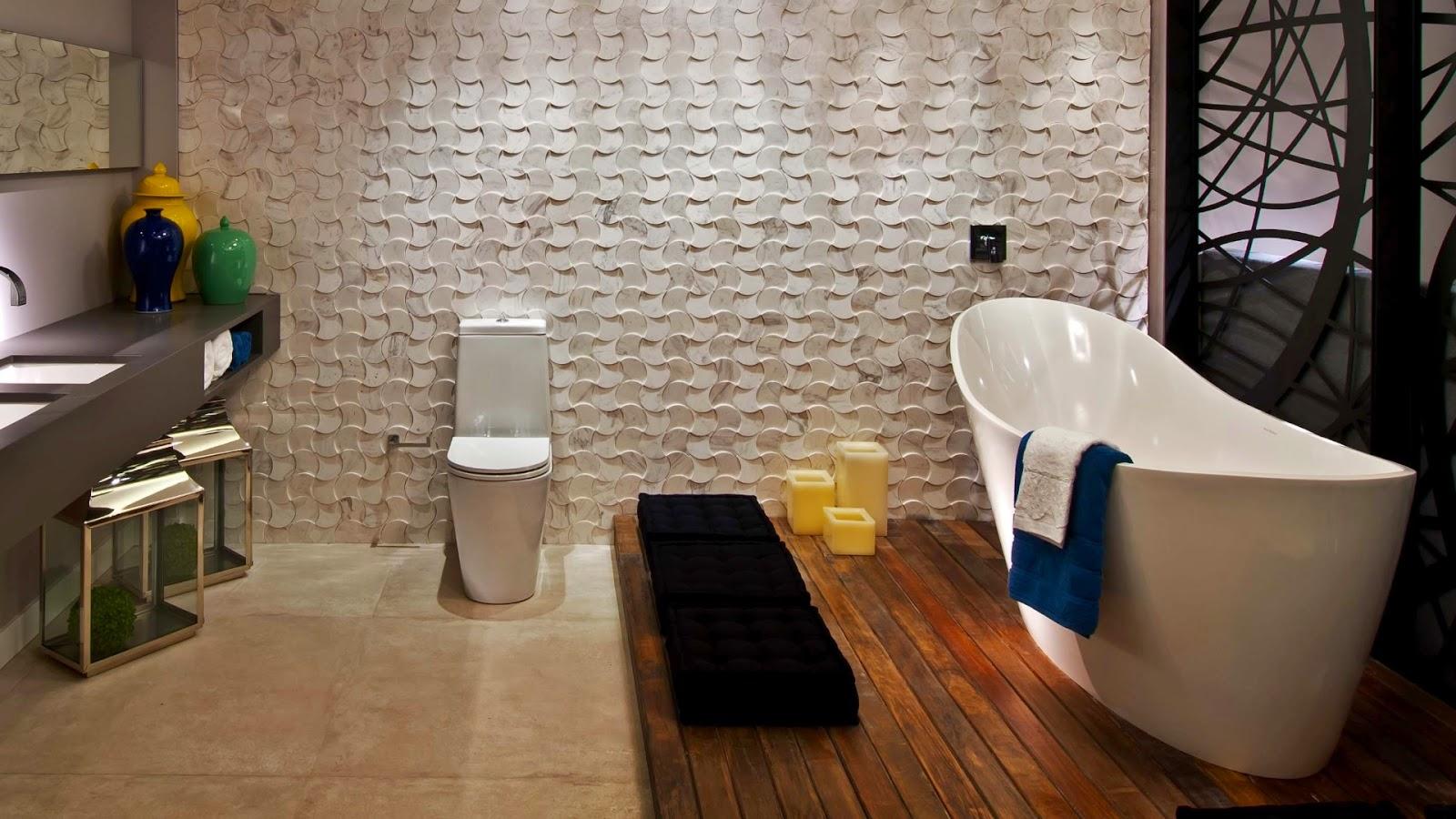 Banheiro com deck de madeira na banheira. Essa opção vem sendo muito  #A87923 1600 900