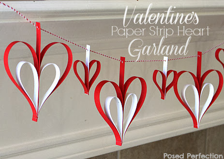 Valentine's Day Paper Strip Heart Garland