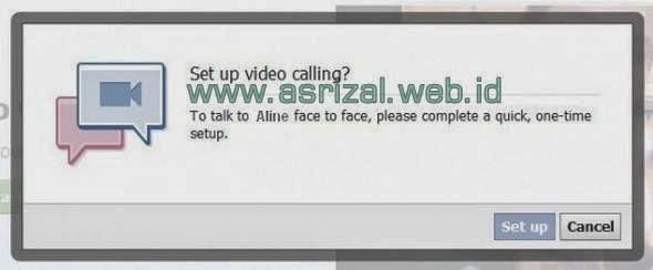 calling facebook kemudian kan muncul pop up set up video calling di