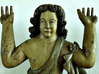 Museu de São Miguel das Missões: Atlantis, em madeira policromada. Século XVII ou XVIII. Escultura com as mãos erguidas, faltando os dedos.