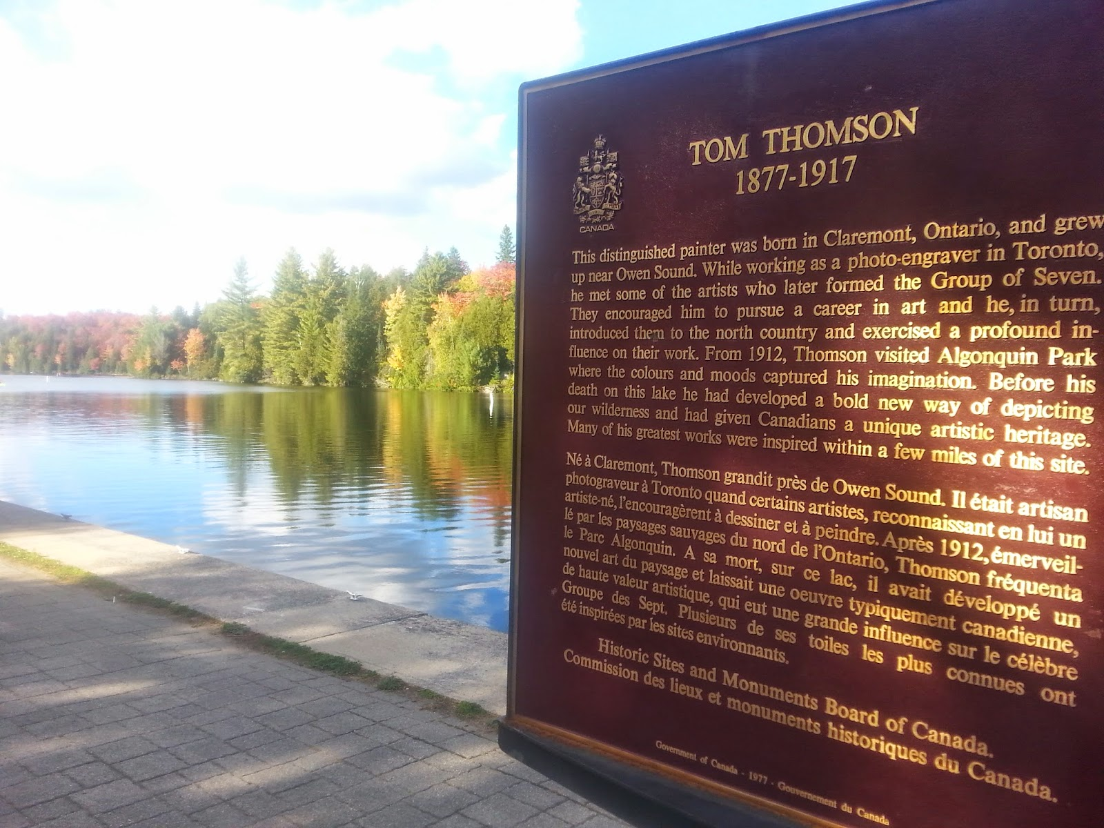 Historical plaque at Canoe Lake