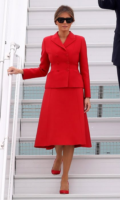 FLOTUS MELANIA TRUMP DAZZLED IN RED