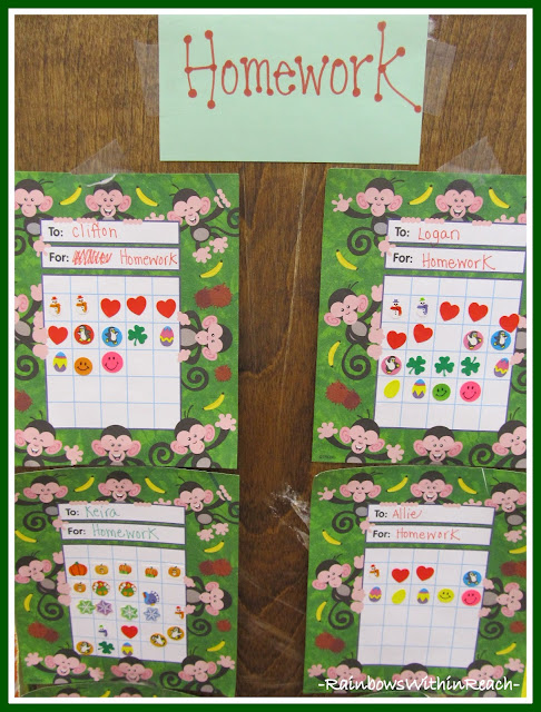 photo of: Homework Chart System in Kindergarten