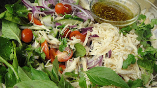 shredded chicken herbal salad recipe