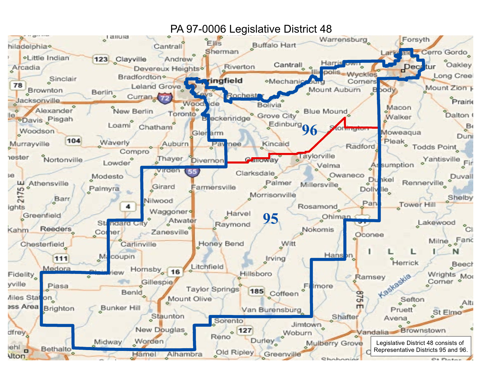 map of realigned illinois state senate district 48 and state representative districts 95 and 96