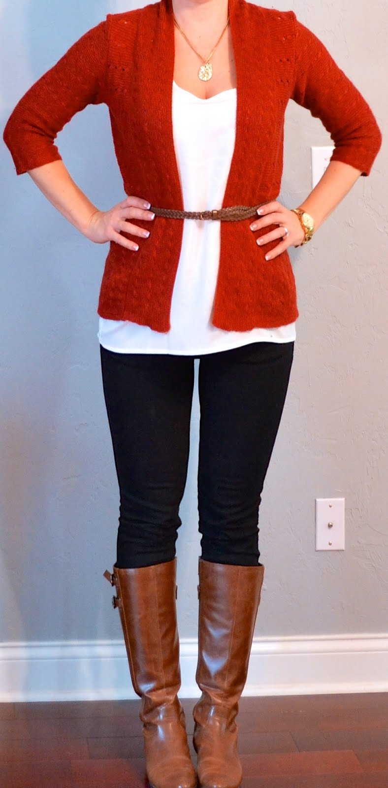 Outfit post rust cardigan white tank black jeans brown riding boots | Outfit Posts Dynamic