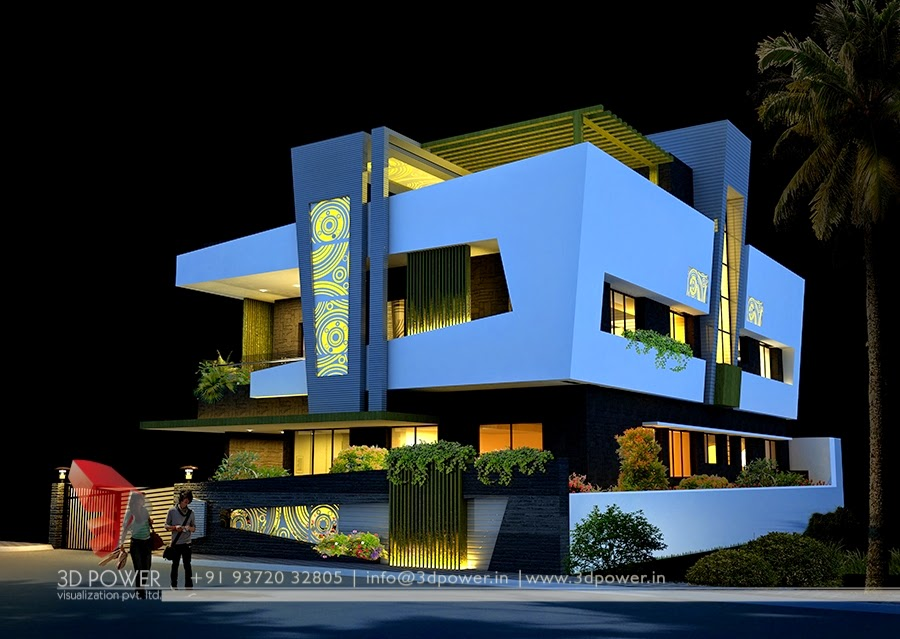 3D Night View In Artist Style Of  Bungalow