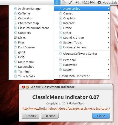 classic menu indicator