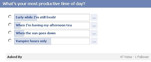 GotPrint Facebook poll - what's your most productive time of day?