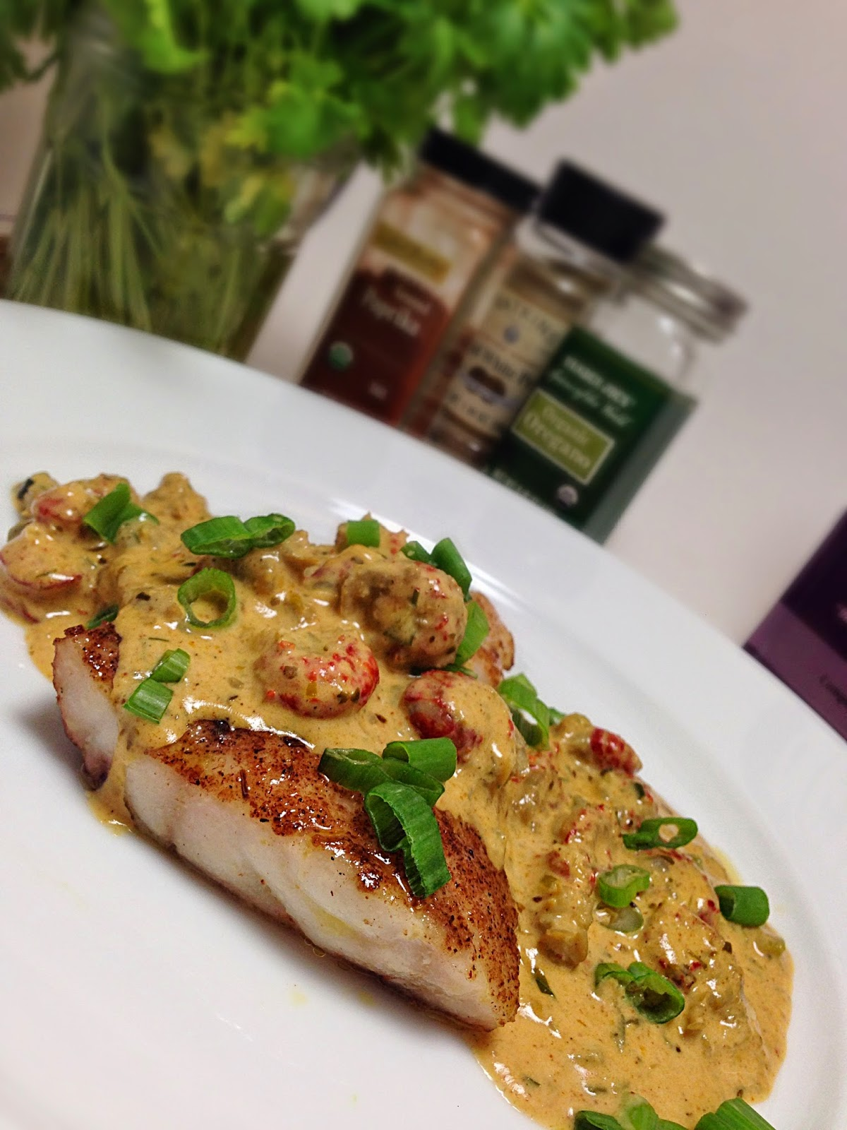 Yummy fixins blackened red snapper with crawfish cream sauce for Creamy sauce for fish
