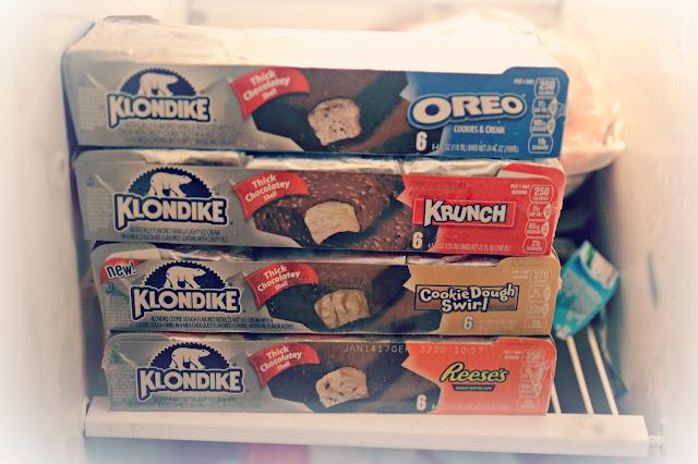 Klondike bars in freezer