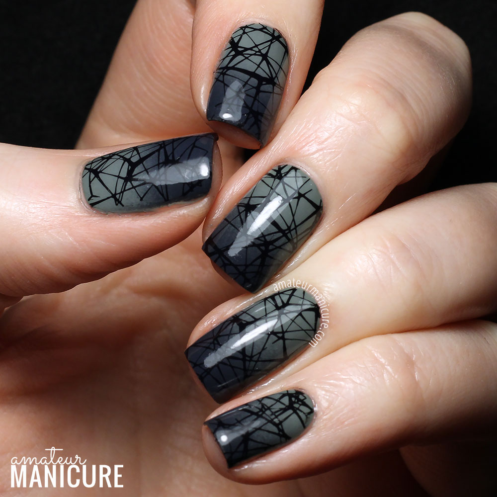 Gray And Black Nail Designs: Amateur Manicure : A Nail Art Blog: Misty Green-Grey
