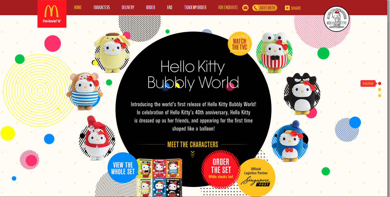 McDonalds Singapore Hello Kitty Bubbly World promotion online sales site