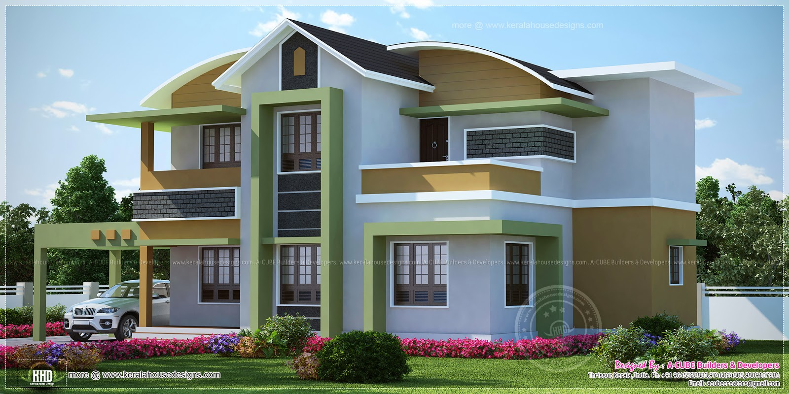 One Floor Villa Elevation : Modern villa in square feet kerala home design and