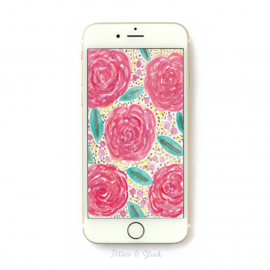 Free Hand-Painted Watercolor Roses iPhone Wallpaper. www.pitterandglink.com