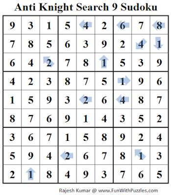 Anti Knight Search 9 Sudoku (Daily Sudoku League #221) Solution