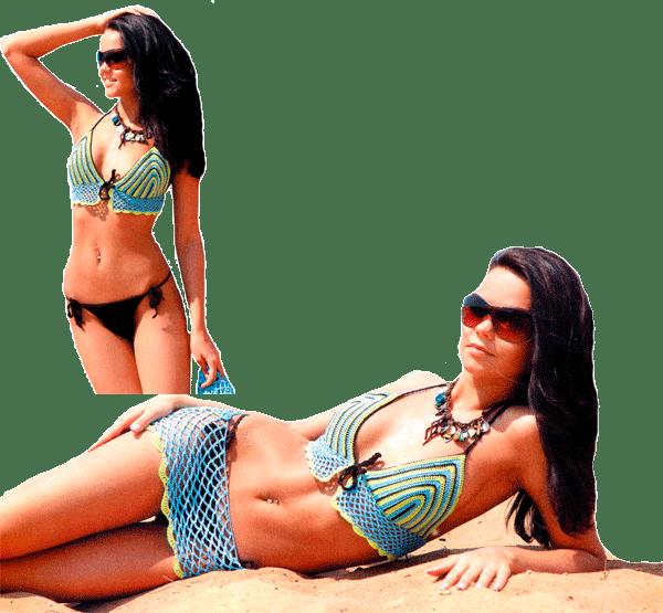 купальник в разноцветную полоску с юбочкой