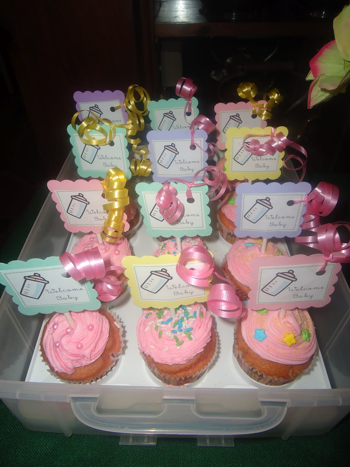 Recipe for a home girl baby shower for Cupcake recipes for baby shower girl