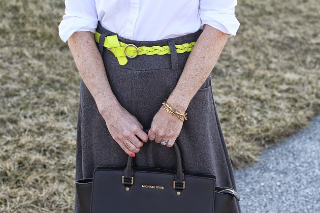 jcrew yellow belt, vita fede bracelet, michael kors handbag