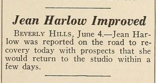 Magazine clipping June 4, 1937 Jean Harlow's health improving