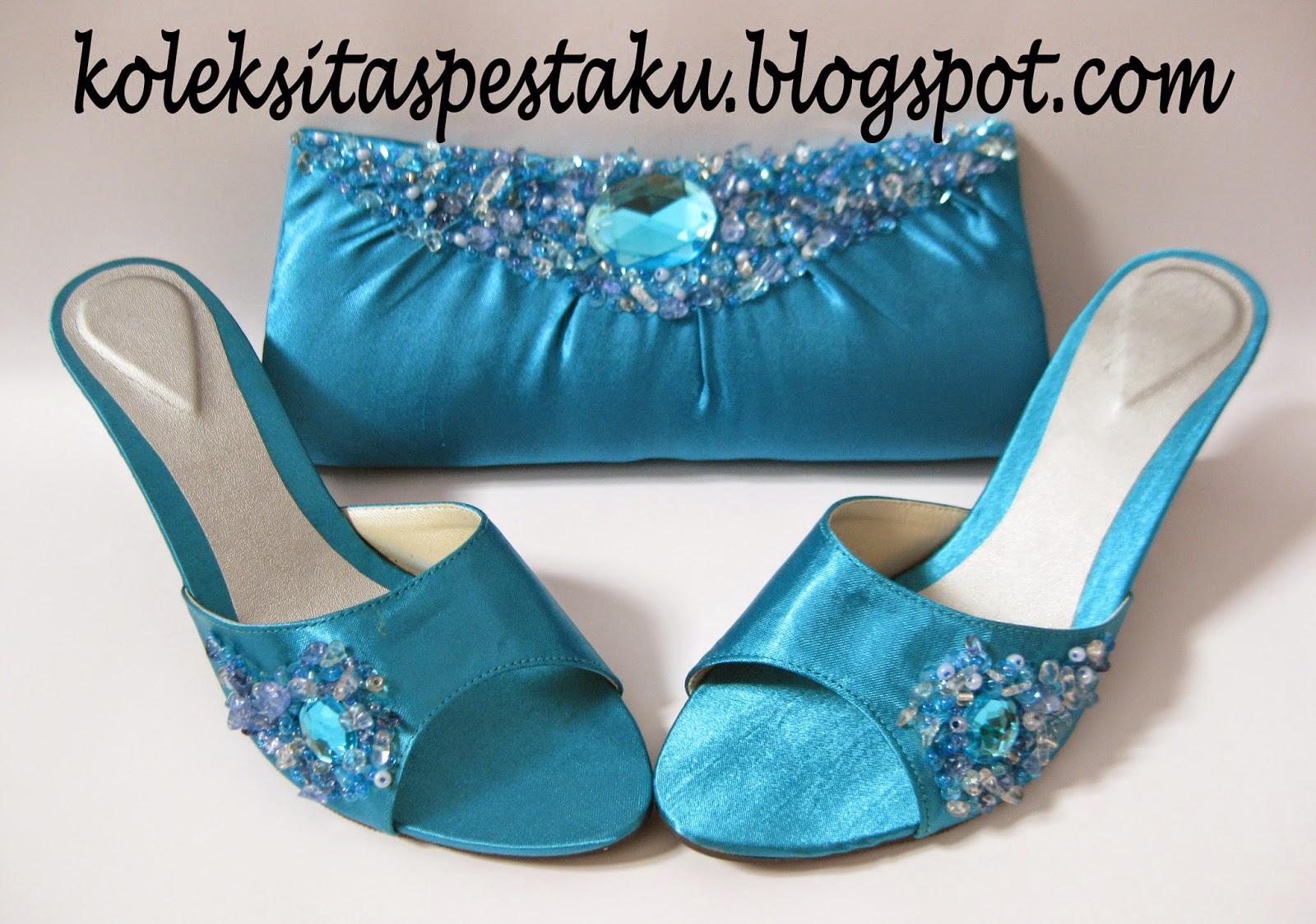Biru Tosca Tas Pesta Mewah Sepaket Sepatu High Heels Elegant dan Cantik Awet