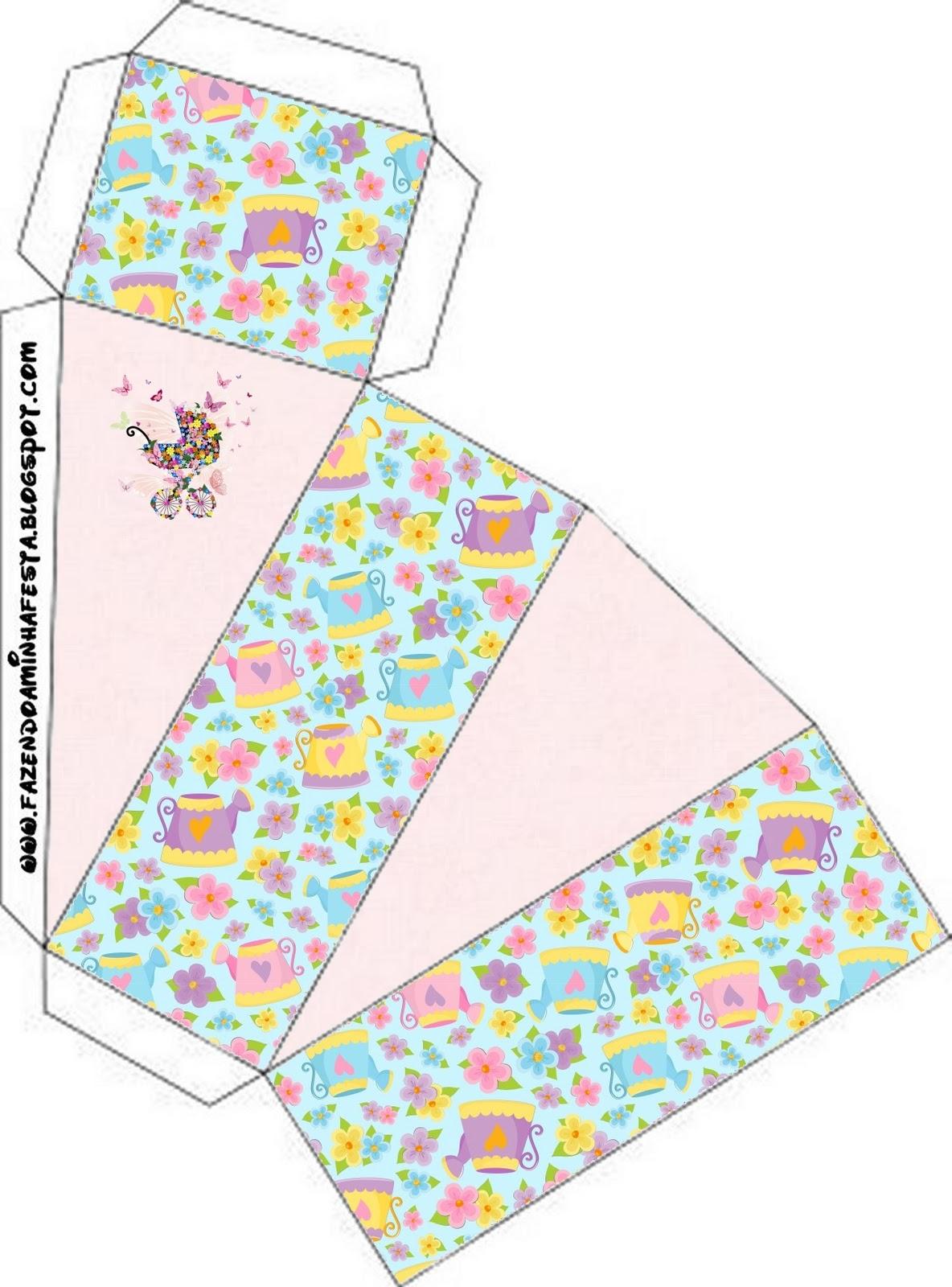 Armario Giratorio De Zapatos ~ Jardim de Flores Rosa e Azul Kit Completo com molduras