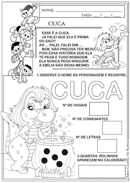 Atividade Dia do Livro Infantil / Cuca Sítio do Pica Pau Amarelo