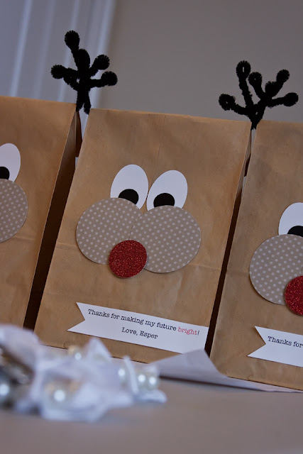 Reindeer Teacher Gift Bags, DIY Reindeer Teacher Gift Bags