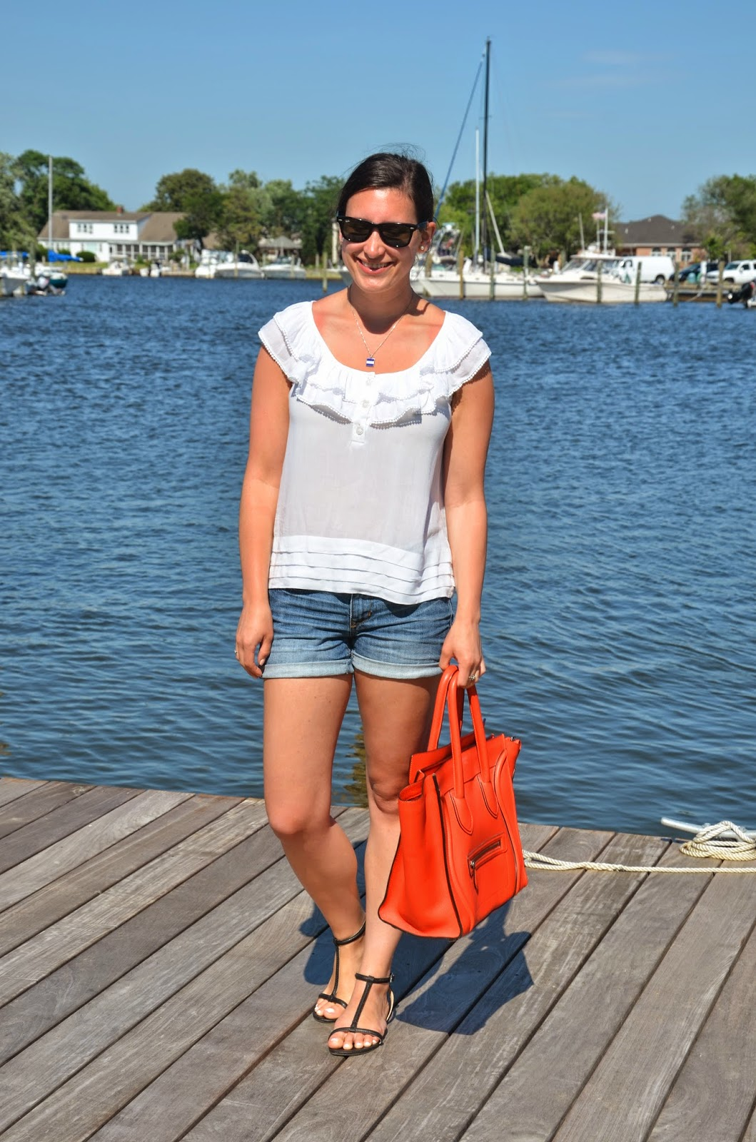 white anthropologie top + denim shorts + celine handbag