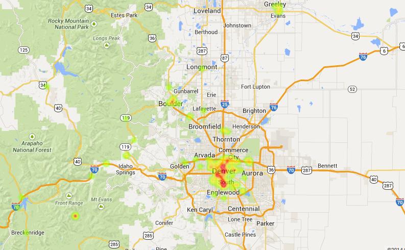 Heatmap Of Retail Mmj Shops In Colorado